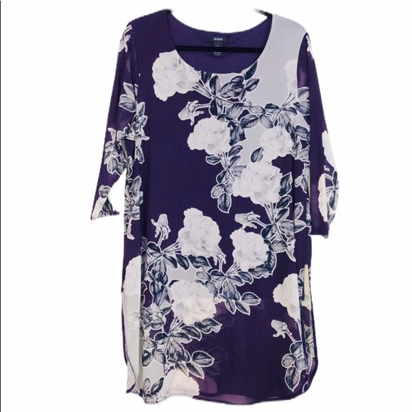 Alfani Eggplant Partially Lined Floral Tunic XL